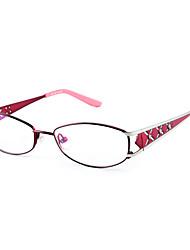 [Free Lenses] Women's Metal Oval Full-Rim Fashion Prescription Eyeglasses