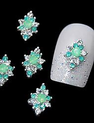 10pcs grüne Strass-Legierung für DIY Fingerspitzen-Design Nagelkunstdekoration