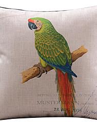 padrão de papagaio verde de algodão / fronha decorativo linho
