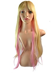 Women Long Cartoon Mixcolor Straight Synthetic Wigs Side Bang