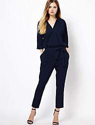 Women's New European Slim V-neck Jumpsuit