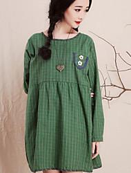 Women's Loose Grid Cotton Elastic Rope  Long Sleeve Dress