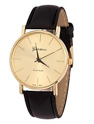 Women's Golden Case PU Band Quartz Analog Wrist Watch (Assorted Colors)