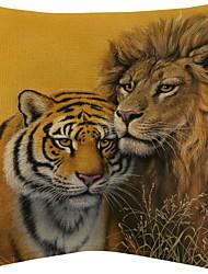 vívida tigre e leão padrão de algodão / fronha decorativo linho