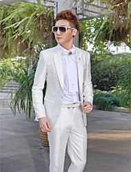 White Embroidered Slim Fit Tuxedo In Polyester