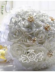 Hochzeitsblumen Rundförmig Rosen Sträuße Hochzeit Polyester Spitzen Strass ca.28cm