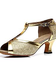 Non Customizable Women's Dance Shoes Latin Sparkling Glitter Chunky Heel Blue/Brown/Gold