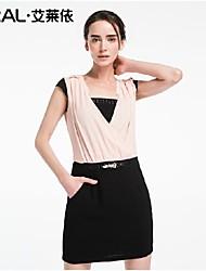 abito abito estivo in chiffon di eral®women rappezzatura sottile elegante scollo a V in tinta unita di un pezzo