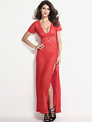 Women's Sexy Mesh and Lace V Neck Maxi Nightwear Gown