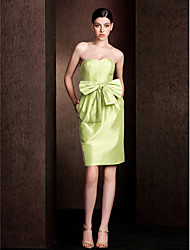 Knee-length Taffeta Bridesmaid Dress - Sage Sheath/Column Strapless