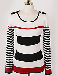 XNR Women's Fashion Casual Knitting Stripe Blouse
