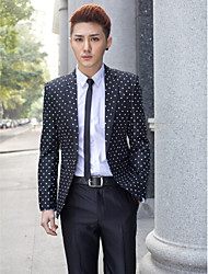 Black&White Dots Slim Fit Tuxedo In Polyester