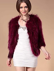 Fur Jacket 3/4 Sleeve Collarless Natural Raccoon Fur Casual Jacket(More Colors)