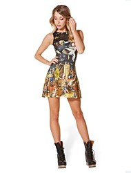 Women's Noah's Ark Printing Sleevless Dress