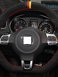 XuJi ™ Black Suede Steering Wheel Cover for Volkswagen Golf 6 GTI VW Polo GTI Scirocco R