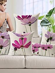 ensemble de 5 lumière mauve élégant motif floral coton / lin taie d'oreiller décoratif