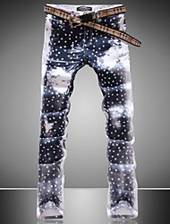 Men's Print Pant , Cotton Blend/Denim Casual
