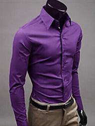 first brand Men's Shirt Collar Casual Shirts , Cotton Blend Long Sleeve Casual