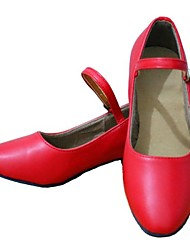 Non Customizable Women's/Kids' Dance Shoes Modern Leatherette Cuban Heel Red