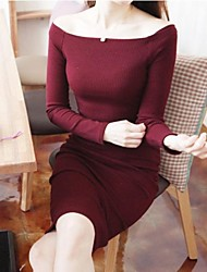 Women's Solid Red/Black Dress , Sexy/Bodycon/Party Off Shoulder/Round Neck Long Sleeve