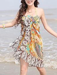 élégante serviette de plage coloré impression mousseline cover-up des femmes