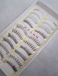10 Pairs/Box 100% Handmade Brown Fiber with Transparent Plastic Stalk Mixed Styles Upper and Lower False Eyelashes