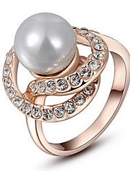 Women's Roxi Exquisite Rose-Gold Plated Pearls Mosaic Rings(1 Pc)