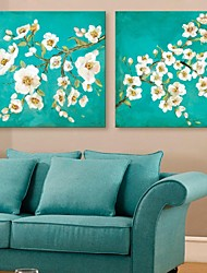 E-HOME® Stretched Canvas Art Flowers Decorative Painting Set of 2