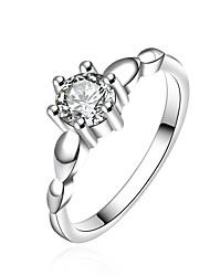 Christmas Lady Retro Classic Fashion 925 Silver Six Claw Ring