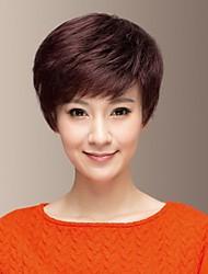 Temperament of Human Hair Side Bang Short Chestnut Hair Wig