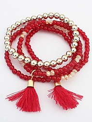 Women's Bohemia Layers Beads Assemble Tassel Stretchy Strand Bracelets
