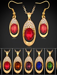 18K Gold Plated Rhinestone CZ Diamond Trendy Pendant Necklace Dangle Earrings Fashion Jewelry Sets