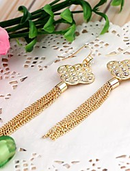 China Knot-Shaped Alloy With Rhinestone Tassel Earrings Gold (1Pair)