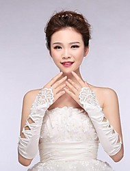 Elastic Satin Elbow Fingerless Wedding Gloves with Applique with beading ASG12