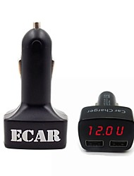 ecar récent sortie chargeur 2USB 3.1a 4 en 1 voiture avec tension de mesure fonction actuelle et la température