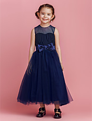 A-Line Princess Ankle Length Flower Girl Dress - Tulle Sleeveless Jewel Neck with Draping by LAN TING BRIDE®