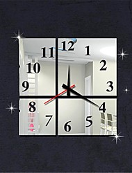 """15""""H Modern Style Square Numbers Home Decoration 3D DIY Acrylic Mirror Wall Clock"""