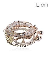 lureme®pearl et alliage perles bracelets fixés