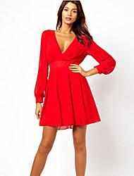 Taylor Women'S V-Neck Long Sleeve Skater Dress