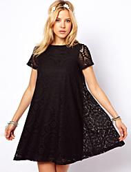 blk Frauen Kurzhülse dünnen Mode runden Kragen Spitze A-Linie Kleider ausgeschnitten