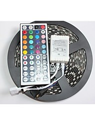 ZDM™ Black PCB Board Waterproof  RGB 5M 300x5050 SMD White Light LED Strip Lamp DC 12V+44 Key IR Remote Controller