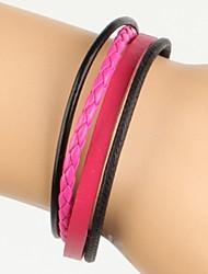 просто регулируемые женщин кожаный браслет очень здорово розовый и черный твист кожа (1 шт)