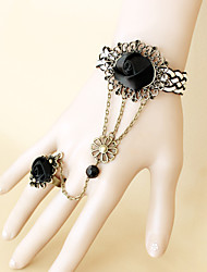 New Fashion Palace Retro Black Roses Female Bracelet Ring Set