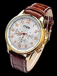 MCE Men's Auto-Mechanical Multi-functional Waterproof Gold Case PU Band Wrist Watch