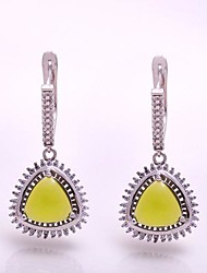 AS 925 Silver Jewelry  Olive green exquisite 9MM*9MM triangular Earrings