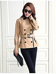 Leather Coat Women's Short Double Breasted Fashion Leather Big Yards PU Coat(More Colors)