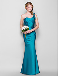 Lanting Floor-length Taffeta Bridesmaid Dress - Jade Plus Sizes / Petite Sheath/Column One Shoulder