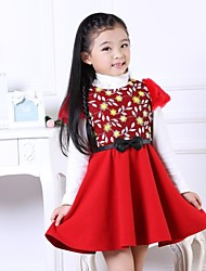 Girl's Print Dress,Mesh / Viscose Winter / Fall Pink / Red / Yellow