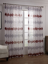 (Two Panels) Elegant Grey And Red Abstract Stripe Sheer Curtain