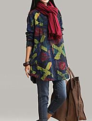 Robes ( Coton mélangé ) Vintage/Sexy/Imprimé/Soirée/Travail Rond à Manches longues pour Femme